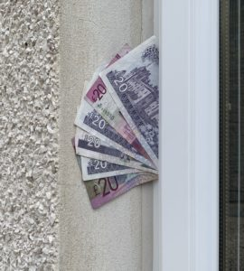 money trapped in a house